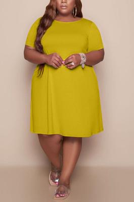 Golden Yellow Women Casual Pure Color Plus Size Loose Dress TC079