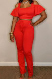 Trendy Casual Pure Color Off Shoulder Flare Leg Pants Sets YM199