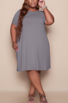 Gray Women Casual Pure Color Plus Size Loose Dress TC079