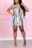 Colored Striped Straps Backless Shorts Sets ANK06021