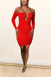 Sexy Long Sleeve One Shoulder Wrap Dress ANK06022