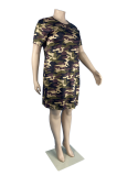 Plus Size Casual Loose Camouflage Round Neck Dress TC084