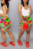 Fashion Tassel Camouflage Printing Shift Shorts SN3644