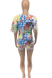 Women Loose Casual Scrawl Printing V Neck Shorts T Shirts Sexy Two Pieces ATE5221