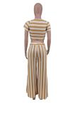 Plus Size Fashion Round Neck Striped Short Sleeves Pants Sets AMX6030
