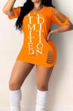 Fashion Tight Hole Letter Printing Dress YM181