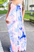 Pink Blue Tie Dye Printed Loose Condole Belt Long Dress With Pocket WY6804