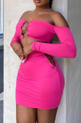 Fashion Sexy Pin Chest Warp Short Skirts Sets YT3282