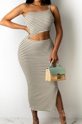 Fashion Casual Stripe Printing Sexy Dress YMM9065