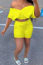 Pure Color V Neck Sport Casual Pocket Shorts Sets SMY8103