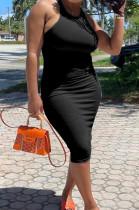 Sexy Pure Color Vest Pit Bar Casul Midi Dress YMM9073