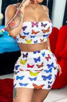 Women Condole Belt Butterfly Printing Skirts Sets SMY8089
