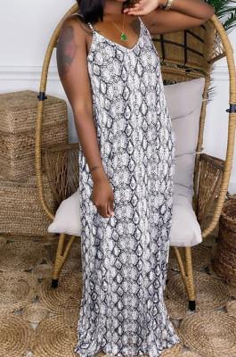 Snake Print Loose Condole Belt Long Dress With Pocket WY6804