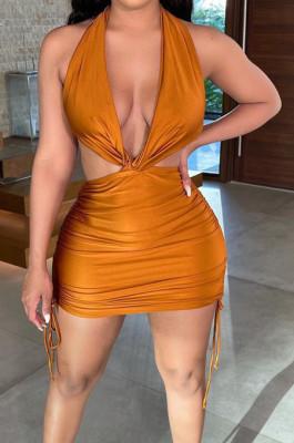 Euramerican Sexy Halter Neck Ruffel Package Buttocks Bakcless Dress NRS8071