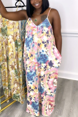 Printed Loose Condole Belt Long Dress With Pocket WY6804