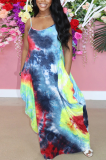 Red Blue Print Halter Round Neckline Long Dress With Pocket QQM4273