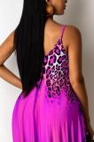 Purple Leopard Print Loose Halter Dress With Pockets LML222