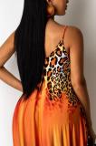 Orange Leopard Print Loose Halter Dress With Pockets LML222
