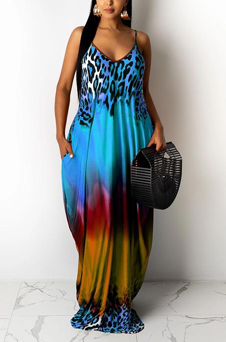 Blue Leopard Print Loose Halter Dress With Pockets LML222