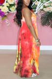 Orange Pink Print Halter Round Neckline Long Dress With Pocket QQM4273
