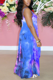 Blue Purple Print Halter Round Neckline Long Dress With Pocket QQM4273