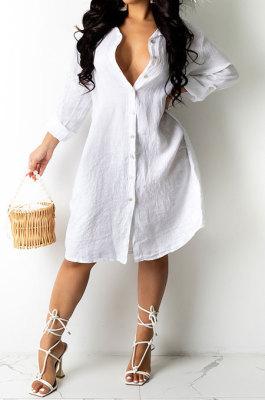 Euramerican Women Loose Pure Color Cardigan T Shirt/Shirt Dress AWL5887