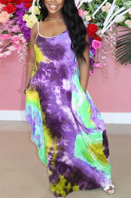 Purple Green Print Halter Round Neckline Long Dress With Pocket QQM4273