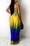 Yellow Leopard Print Loose Halter Dress With Pockets LML222