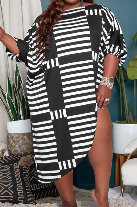 Loose Personality Stripe Big Yards Casual Dress JG054