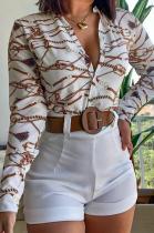 White Print Long Sleeve Blouse Shirt and Plain Shorts Two Piece Set