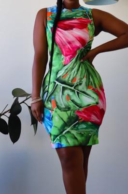 Night Club Sexy Positioning Printing Sleeveless Dress ZDD31133