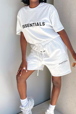 Casual Personality Letter Printing Short Sleeve Shorts Two Piece JG055