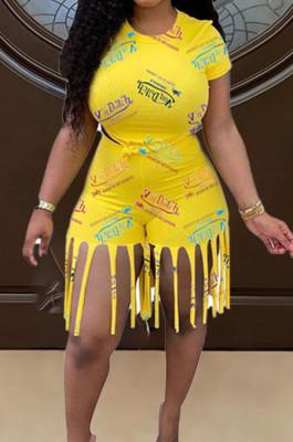 Fashion Letter Print Short Sleeve Tassel Shorts Two Piece WJ5220