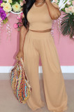 Casual Prue Color Loose Sleeve Wide-Iegged Pants Sets LML246
