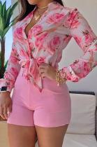 Pink Print Long Sleeve Blouse Shirt and Plain Shorts Two Piece Set