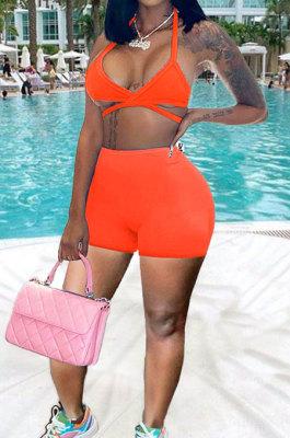 Fashion Sexy Low Bosom Condole Belt Vest Sport Shorts Sets MDF5235