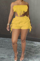 Pure Color Chest Wrap Tassel Fashion Sexy Backless Shorts Sets PY809