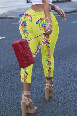 Women Eyelet Coloured Ribbon Hurnt Flower Cowboy Long Pants XQ1127