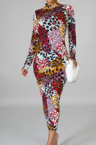 Fashion Sexy Digital Printing Cultivate One's Morality Long Sleeve Dress SMR10443