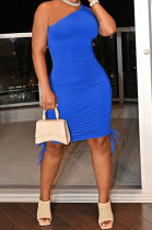 Blue Casual Ruffle Drawsting Off Shoulder Sleeveless CultivateOne's Morality Mini Dress AMM8362-6