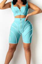 Light Blue Euramerican Fashion Spilced Vest Shorts Sports Casual Sets CM2141-2