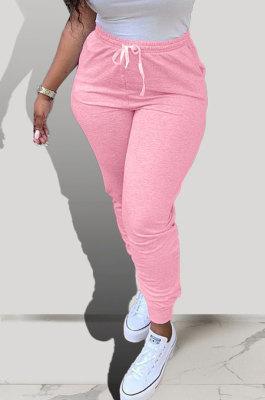 Pink Pure Color Pocket Sport Casual Long Pants KXL843-1