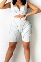 White Euramerican Fashion Spilced Vest Shorts Sports Casual Sets CM2141-1