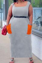 Gray Women Sleeveless Spliced Pocket Plus Long Dress KKY80046-2