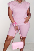 Pink Casual Pure Color Sleeveless Shoulder pads T Shirt Shorts Sets CM2142-1