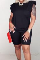 Black Casual Pure Color Sleeveless Shoulder pads T Shirt Shorts Sets CM2142-2
