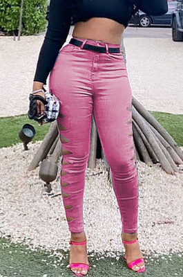 Pink Euramerican Fashion Casual Hole Jeans LSZ91169-4