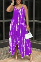 Purple Sexy Tie Dye Print Split Joint Spaghetti Strap Irregular Dress with Pocket
