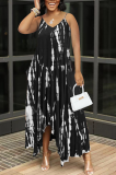 Black Sexy Tie Dye Print Split Joint Spaghetti Strap Irregular Dress with Pocket