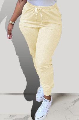 Yellow Pure Color Pocket Sport Casual Long Pants KXL843-2